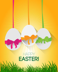 easter background with eggs and ribbon