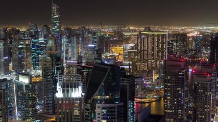 Dubai Marina at Blue hour, Glittering lights and tallest