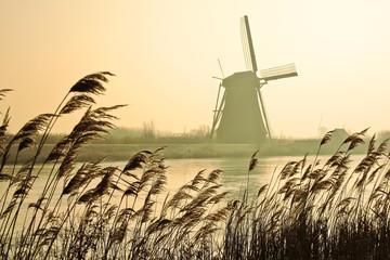 Traditional Dutch windmills in winter at Kinderdijk, Netherlands