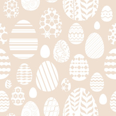 Seamless easter eggs pattern in beige color.