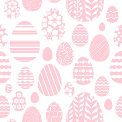 Seamless easter eggs pattern in pink color.