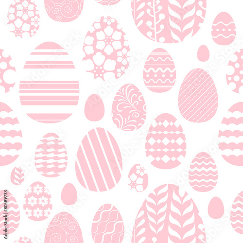 Materiał do szycia Seamless easter eggs pattern in pink color.