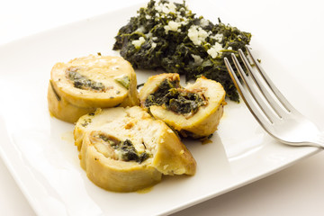 Roasted chicken breast stuffed with spinach
