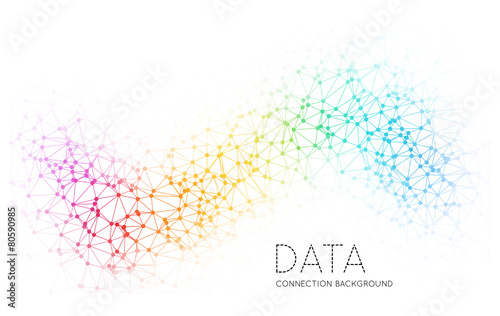 Dots with connections, triangles light background - 80590985