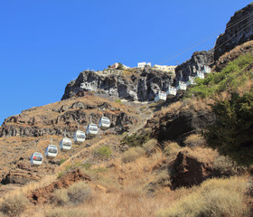 Ropeway in Fira. Santorini, Greece