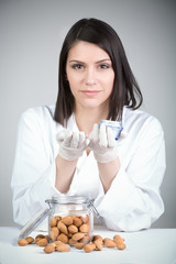 Dermatologist doctor presenting creme.Organic cosmetics.