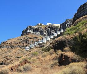 Passenger suspended ropeway. Santorini, Greece