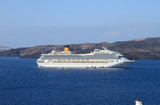Сruise liner on raid. Santorini, Greece poster