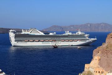 Сruise liner in Cyclades. Santorini, Greece