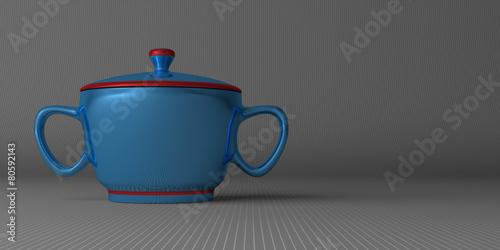 Leinwandbild Motiv Blue sugar-bowl on gray