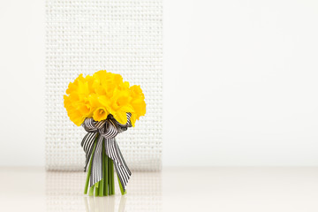 Daffodil bouquet on blur background