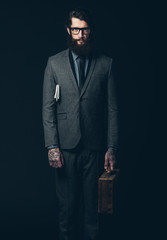 Bearded Young Businessman Holding his Briefcase