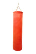 Red punching bag under the light background