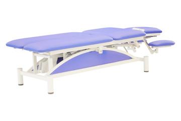 Blue massage bed under the white background