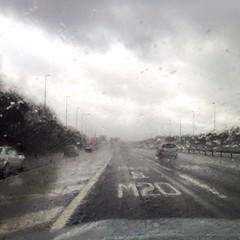 Wet weather in the M20 motorway