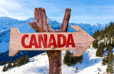 Canada wooden sign with alps background - Fine Art prints