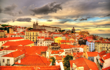 View of the historic center of Lisbon in the evening - Portugal