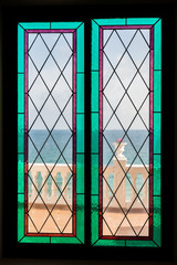 Seaview through the stained-glass window