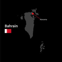 Detailed map of Bahrain and capital city Manama with flag on