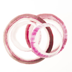 Red Onion Slices Isolated