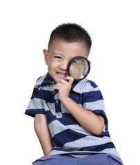 Little asia boy with magnifying glass , isolated on white backgr