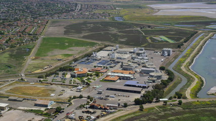 Aerial video view of waste water treatment plant