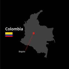 Detailed map of Colombia and capital city Bogota with flag on