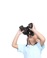 Boy using binoculars looking something, isolated on white backgr