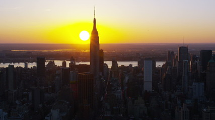 Sunset aerial view of New York City