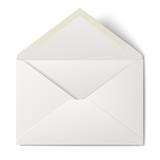 White opened envelope isolated on white background - 80596183
