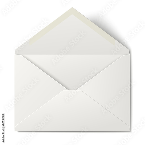 White opened envelope isolated on white background - 80596183