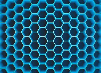 Blue 3D hexagons background