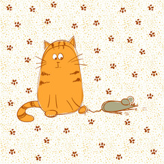 Cat caught a mouse. Doodle vector illustration.