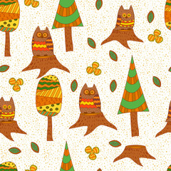 Seamless pattern. Owls in the forest.