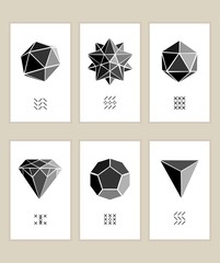 Six templates of cards with geometric shapes
