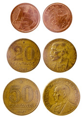 three different old brazilian coin