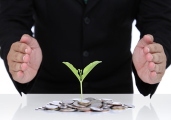 Businessman hand protect money for safe investment in the future