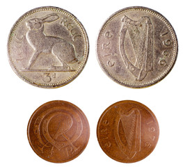 two old rare irish coins
