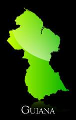 Guyana green shiny map