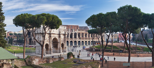 Rome, Colosseum and Constantine arch. Panorama