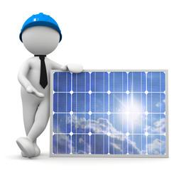omino bianco tecnico fotovoltaico con pannello solare