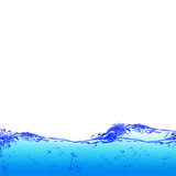Blue water and air bubbles over white background