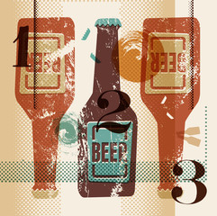 Vintage grunge style poster with a beer bottles.