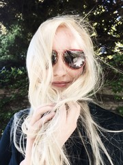 happy female with sunglasses