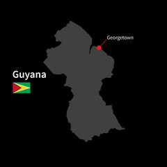 Detailed map of Guyana and capital city Georgetown with flag on