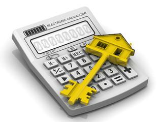 Ключ от недвижимости лежит на электронном калькулятор
