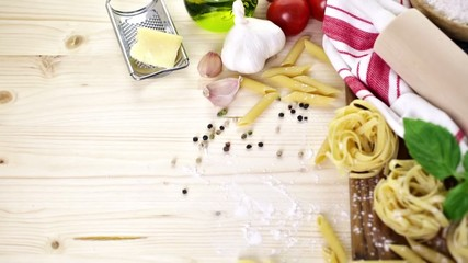 Ingredients for making fettuccine pasta recipe.