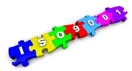 ISO 9001. Надпись на разноцветных пазлах