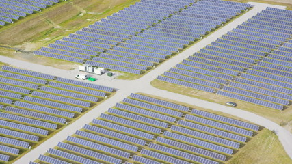 Aerial view of solar energy panels