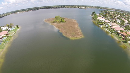 Island on a Florida lake aerial view